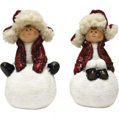 A Cheerful Giver Boy & Girl on Snowball