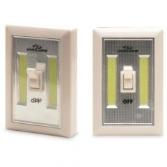 Cyclops Light Switch 180 Lumens 3 AAA Batteries 3 Mounting Options On/Off Switch Ivory 2 pack