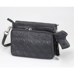 Gun Tote'n Mamas Concealed Carry Rose Embroidered Lambskin Cross-Body Shoulder Bag