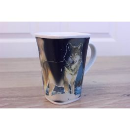 Ollee Bee Color Changing Porcelain Story Mug - Wolf in the Moonlight