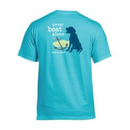 Dog Is Good Mens Never Boat Alone T-Shirt, Lagoon Blue
